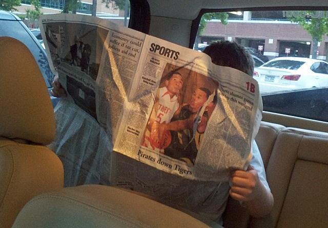 Ethan Reading Newspaper