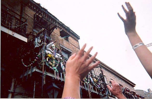 Mardi Gras Bead Toss in New Orleans