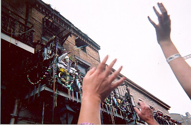 Mardi Gras Bead Toss in New Orleans