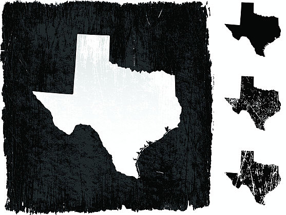 Texas map on grunge background