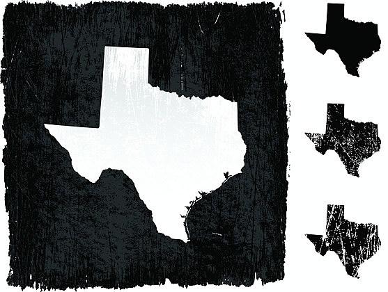 Texas map on grunge background